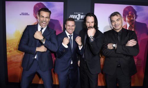 LOS ANGELES, CALIFORNIA - MAY 15: (L-R)  Daniel Bernhardt,  CEO of Carl F. Bucherer Sascha Moeri, Keanu Reeves, and Chad Stahelski celebrate the premiere of